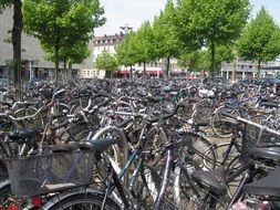 A lot of Bicycles on a street