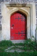 red doors in church