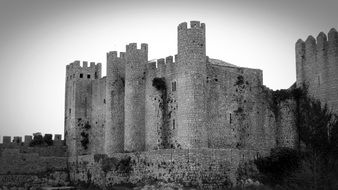 Black and white photo of historical castle