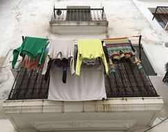 drying clothes on a balcony in Ibiza, Spain
