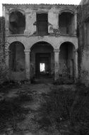 Old stone House ruins, black and white