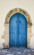 blue door of a church in the village of Kato Lefkara