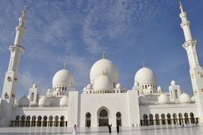 front of grand mosque in abu dhabi