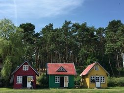 colorful houses in the resort village of Nida in Lithuania