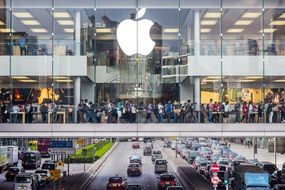 Apple Store above road, china, Hong Kong