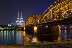 beautiful Cologne Cathedral at night in the light of lights