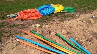multi-colored electric cable