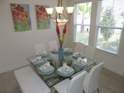 modern decor of a white dining room