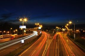 Highway at night, long exposure