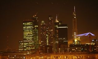 night skyscrapers of moscow city