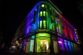colorful lighting of building at night
