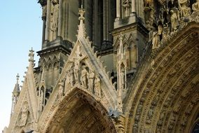 Cruxifixion on facade of gothic Cathedral, france, Reims