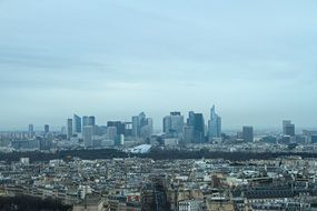 panorama of skyscrapers and roofs of buildings in Paris