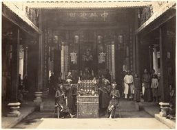 people in Chinese Pagoda in Chinatown quarter, historical photo, Vietnam, saïgon, cholon