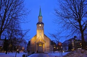 church against the blue sky in Tromso, Norway