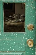 Rustic door in the abandoned house