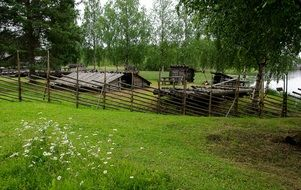 Wooden buildings on Farm at summer, Finland