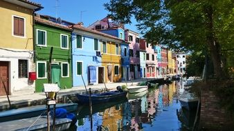 colorful facades of buildings in Burano