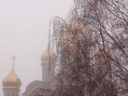 church with golden domes in the fog