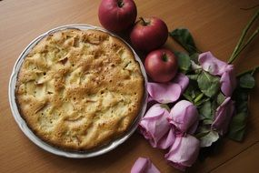 Pie with apples and flowers