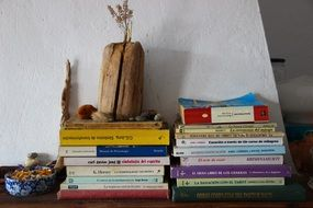 Books and dry flowers in wooden vase on Shelf