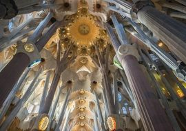 Sagrada Familia cathedral from inside