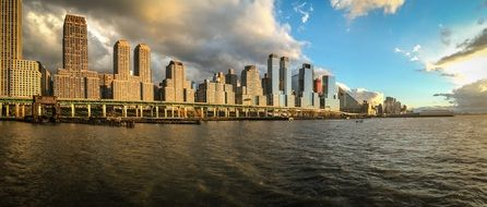 scenic Skyline of downtown at Hudson river, usa, manhattan, New York city