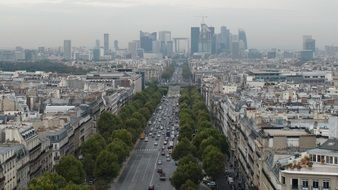 top view of Street at la Defence business district, france, Paris