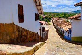 cobblestone pavement on street at picturesque old Town, Colombia, Baricahara City