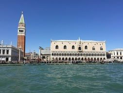 view from the water to the doge\'s palace in venice
