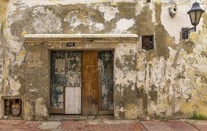 weathered wall with door in Cartagena