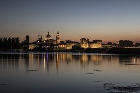 Mantova Night Sunset with the lights on the shore