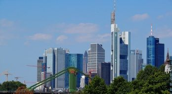 glass skyscrapers and construction cranes in Frankfurt