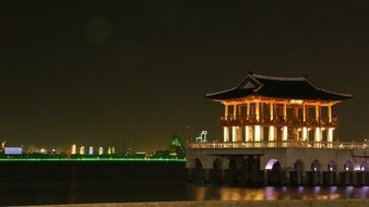 Panorama of the night Asian city