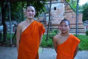 novice monks in the temple