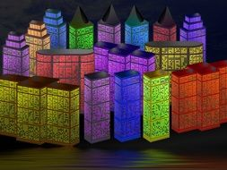 abstract colorful City, night lights, illustration