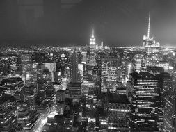 black and white photo of the night city of new york
