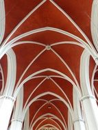 red ceiling of a church