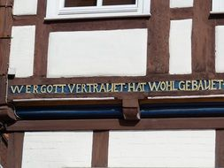 inscription on the timber framed house in lower saxony