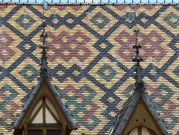 colorful patterned roof on hotel de dieu