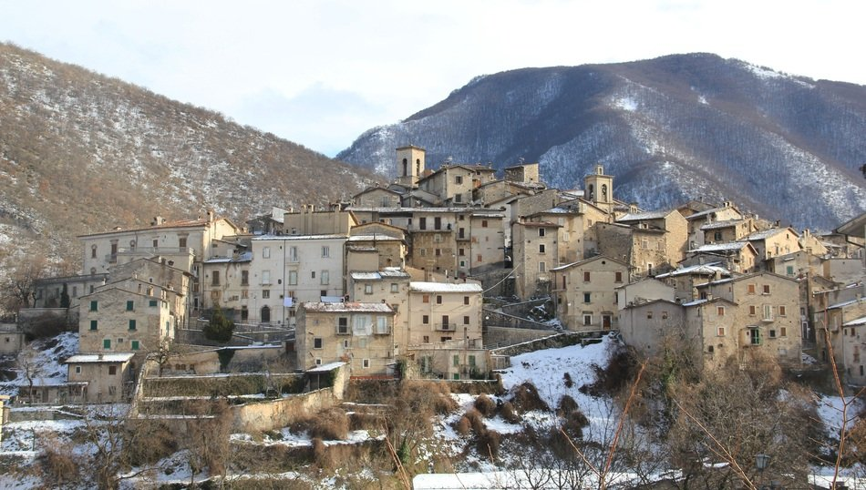 Landscape of Abruzzo town in winter