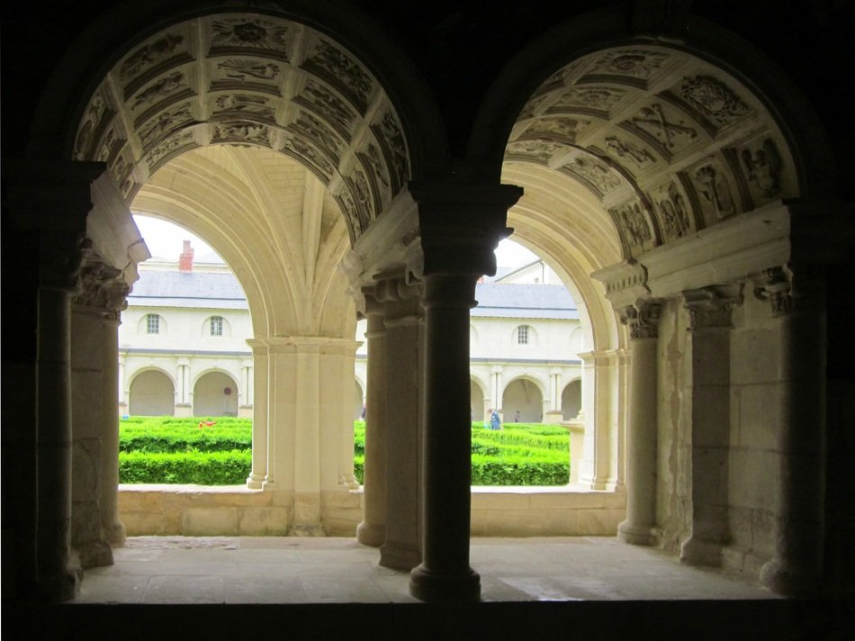 arched Cloister of gothic Fontevraud Abbey, France