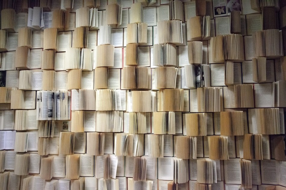 decorative wall of old books