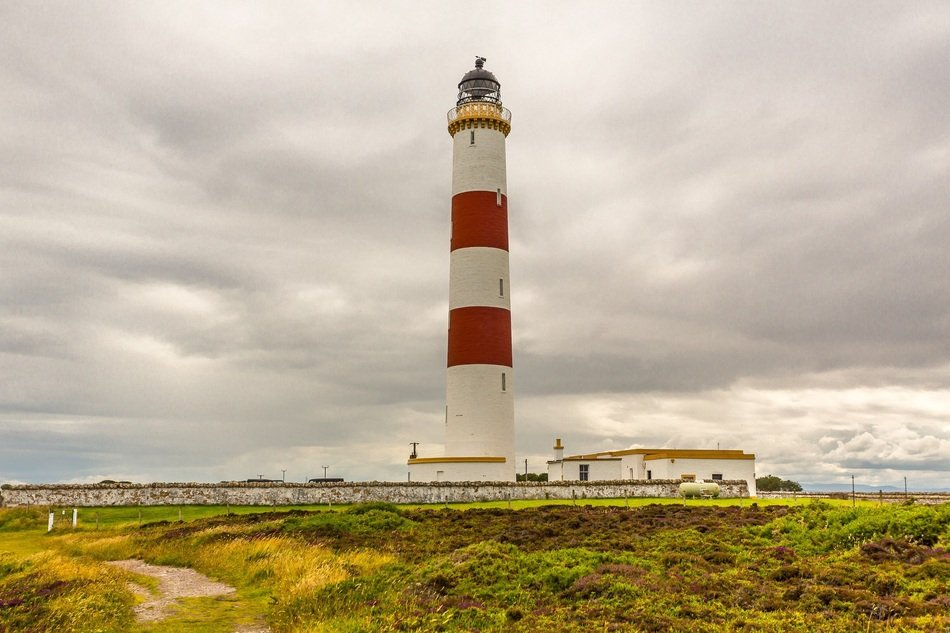 striped Lighthouse at Cloudy sky