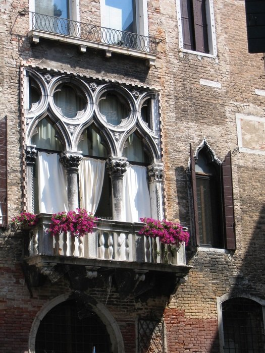 balcony on a historical building in Venice