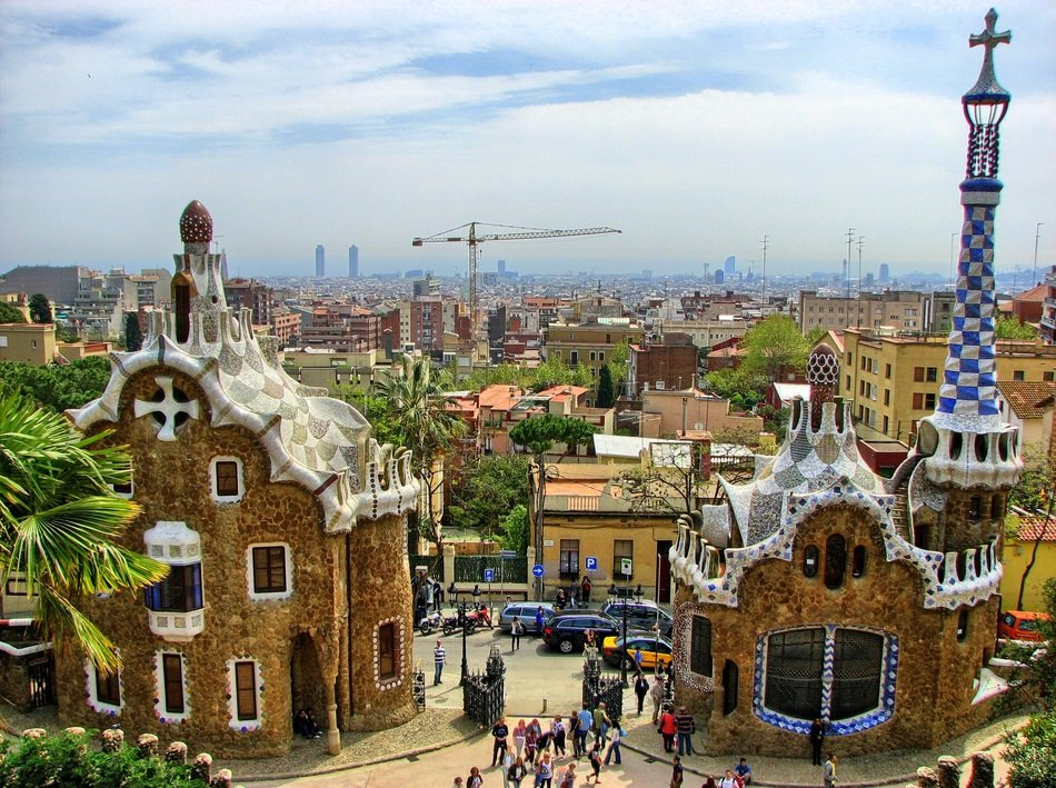 panorama of guell park in barcelona