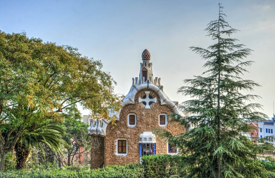 famous Guell Park by Gaudi, spain, barcelona