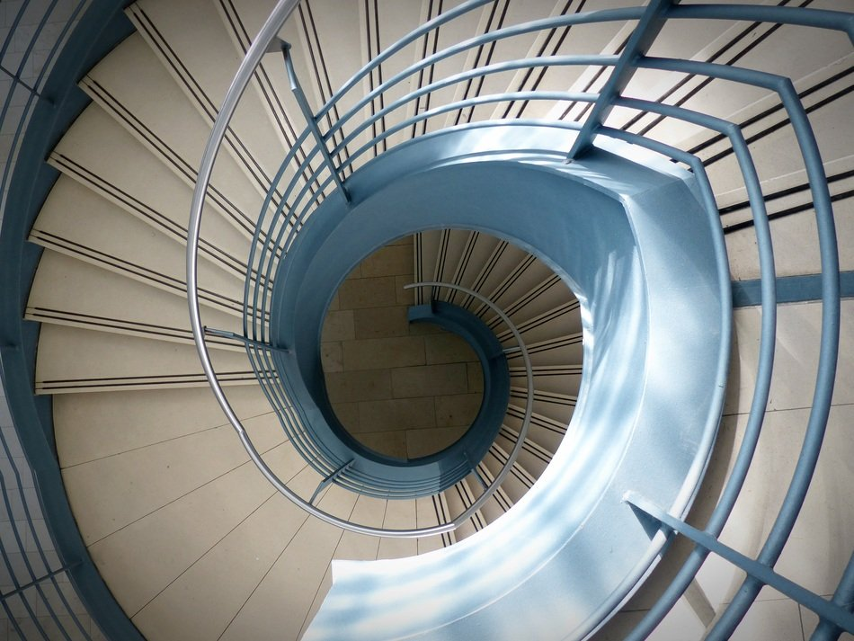 top view of a modern spiral staircase