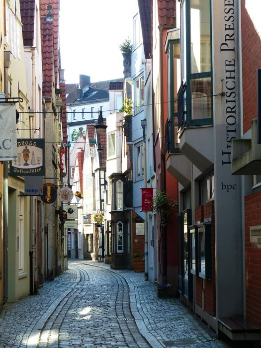 schnoor street in medieval center of bremen