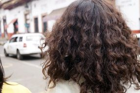 curly hair of a woman